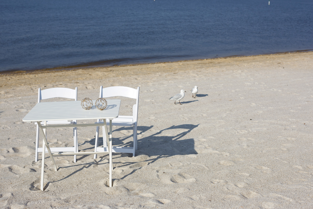 Perth wedding chair hire beach signing table