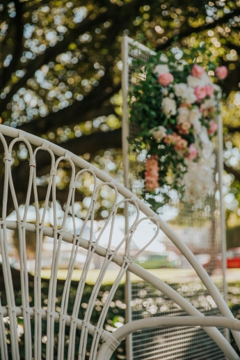 Hamptons Chairs with White Carpet, Mesh Arbour and Florals