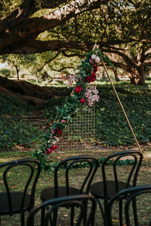 Black Bentwoods and Triangle Gold Arbour with Florals